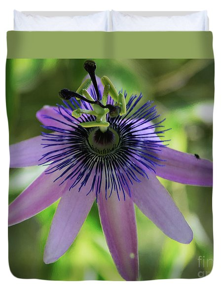 Purple Passiflora Duvet Cover by Elvira Ladocki