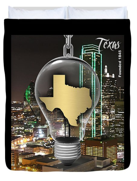 Texas State Map Collection Duvet Cover