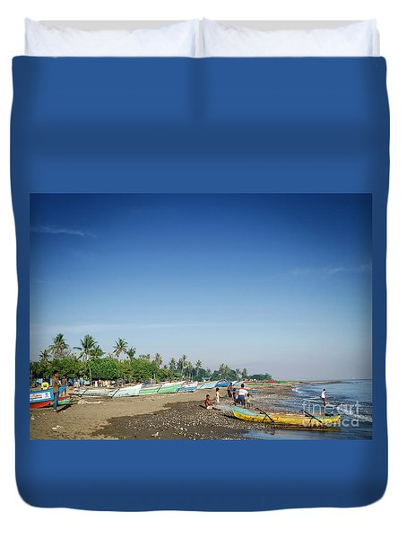 Traditional Fishing Boats On Dili Beach In East Timor Leste Duvet Cover