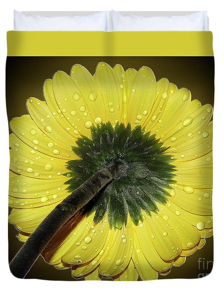 Duvet Cover featuring the photograph Yellow Gerber by Elvira Ladocki