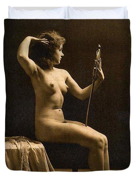 Digital Ode To Vintage Nude By Mb Duvet Cover