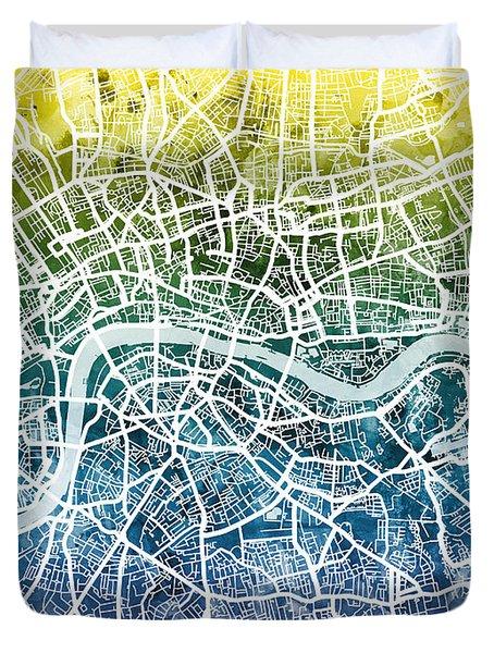 London England Street Map Duvet Cover