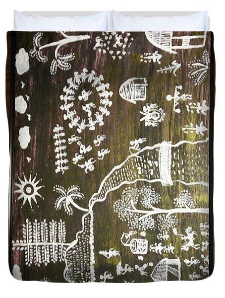 Warli Tribal Painting  Duvet Cover