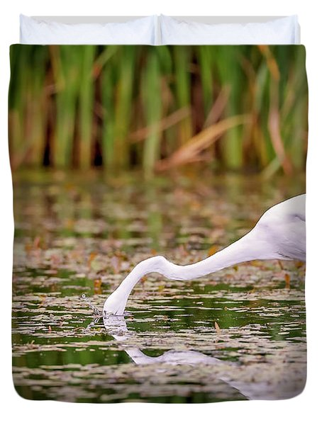 White, Great Egret Duvet Cover