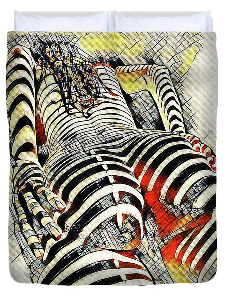 1457s-ak Rear View Nude Erotica In The Style Of Kandinsky Duvet Cover