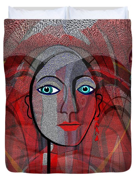 1459 Cubic Lady Face Duvet Cover