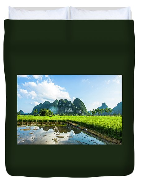 Duvet Cover featuring the photograph The Beautiful Karst Rural Scenery by Carl Ning