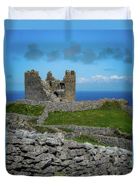 Duvet Cover featuring the photograph 14th Century O'brien's Castle Aran Islands by James Truett