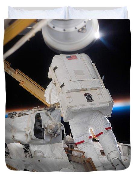 Astronaut Participates Duvet Cover by Stocktrek Images