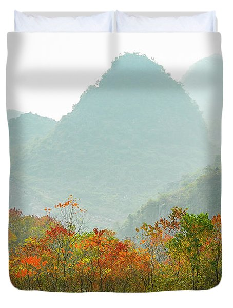 The Colorful Autumn Scenery Duvet Cover