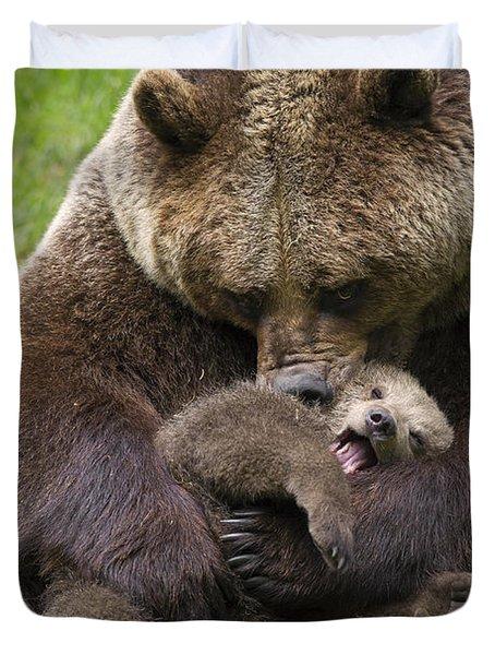Mother Bear Cuddling Cub Duvet Cover