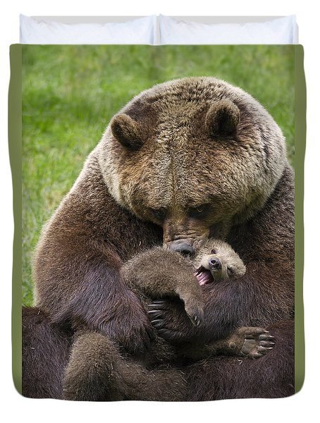 Mother Bear Cuddling Cub Duvet Cover by Arterra Picture Library