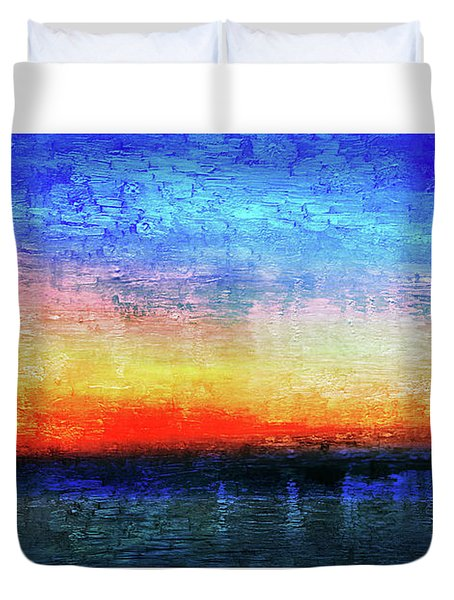 15a Abstract Seascape Sunrise Painting Digital Duvet Cover