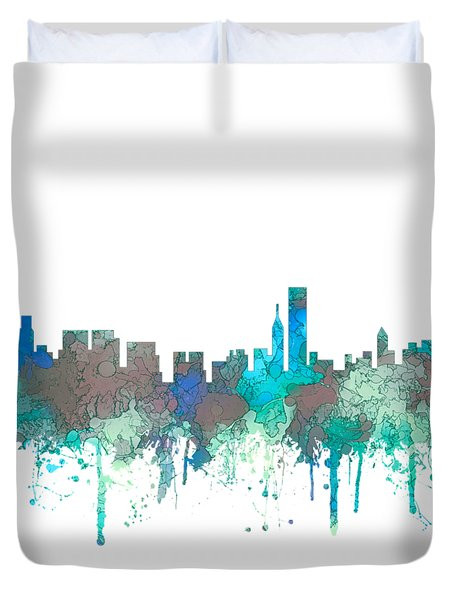 Duvet Cover featuring the digital art Chicago Illinois Skyline by Marlene Watson