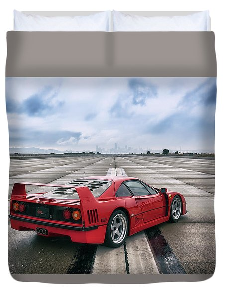Duvet Cover featuring the photograph #ferrari #f40 #print by ItzKirb Photography