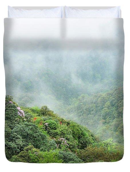 Mountain Scenery In The Mist Duvet Cover