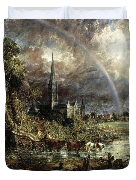 Salisbury Cathedral From The Meadows Duvet Cover
