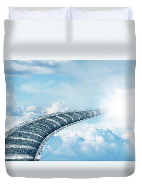 Duvet Cover featuring the digital art Stairway To Heaven by Les Cunliffe