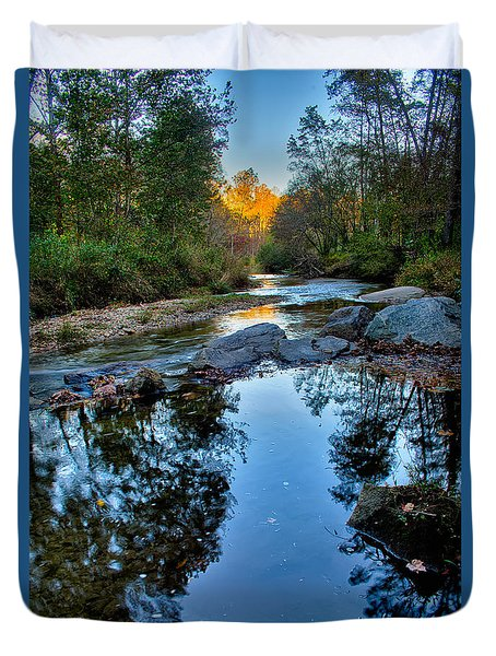 Stone Mountain North Carolina Scenery During Autumn Season Duvet Cover