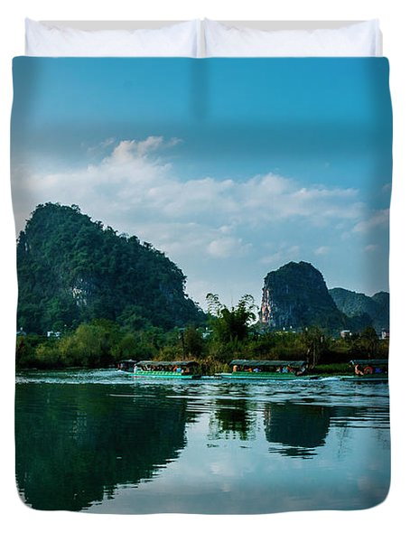The Karst Mountains And River Scenery Duvet Cover