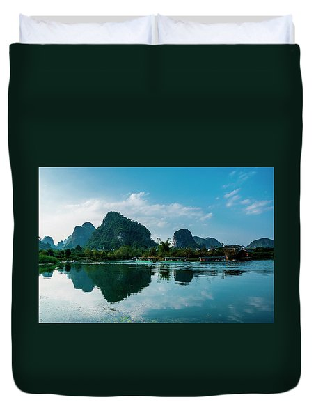 Duvet Cover featuring the photograph The Karst Mountains And River Scenery by Carl Ning