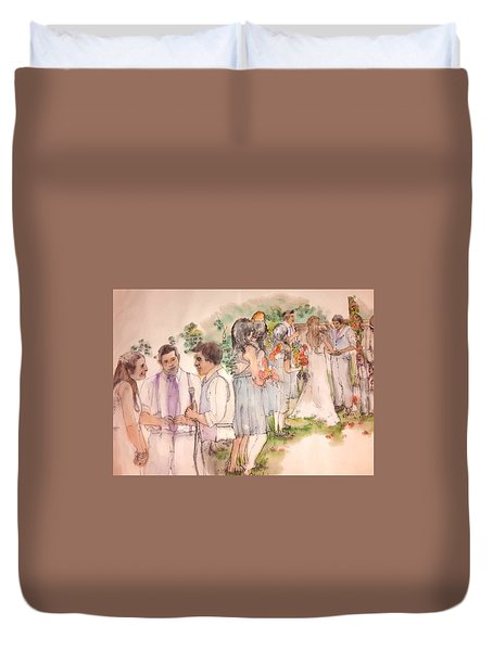 Duvet Cover featuring the painting The Wedding Album  by Debbi Saccomanno Chan