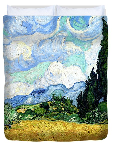 Wheat Field With Cypresses Duvet Cover