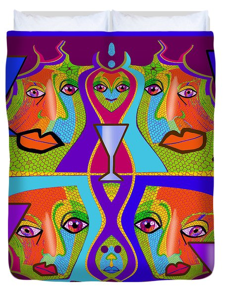Duvet Cover featuring the digital art 1688 - Funny Faces 2017 by Irmgard Schoendorf Welch
