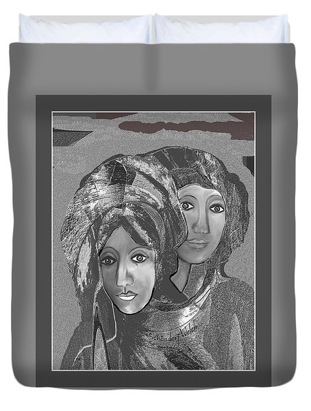 Duvet Cover featuring the digital art 1667 - The Sisters by Irmgard Schoendorf Welch