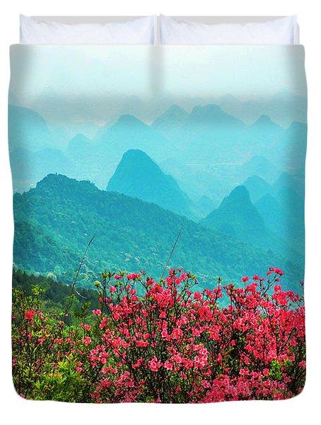 Blossoming Azalea And Mountain Scenery Duvet Cover