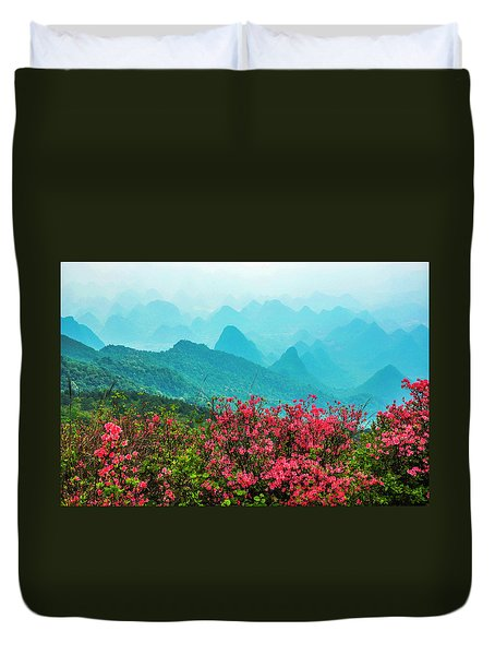 Blossoming Azalea And Mountain Scenery Duvet Cover
