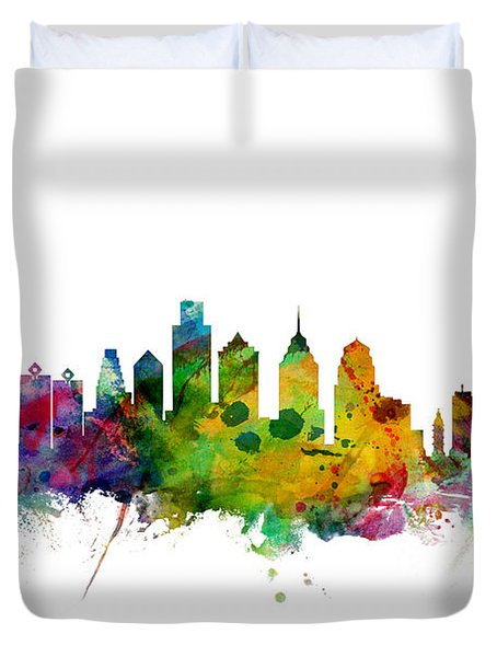 Philadelphia Pennsylvania Skyline Duvet Cover