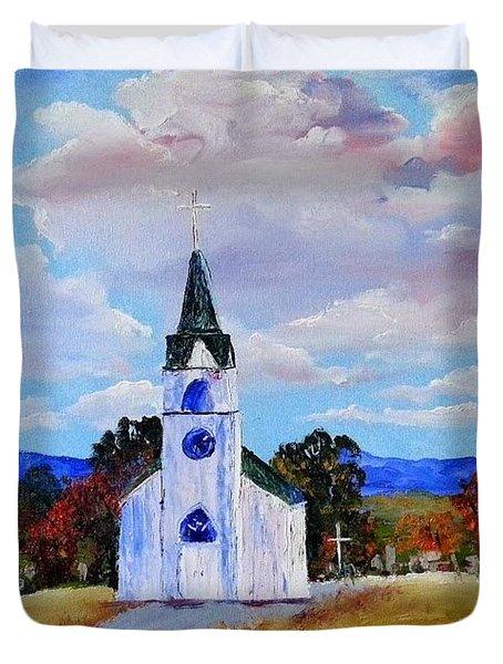 #17 St. Johns Historic Church On Hwy 69 Duvet Cover