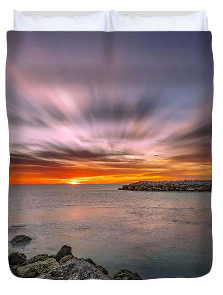 Sunst Over The Ocean Duvet Cover