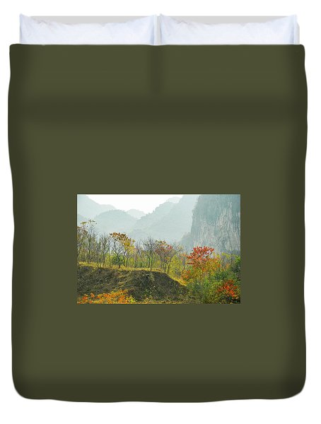 Duvet Cover featuring the photograph The Colorful Autumn Scenery by Carl Ning
