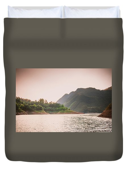 The Mountains And Lake Scenery In Sunset Duvet Cover