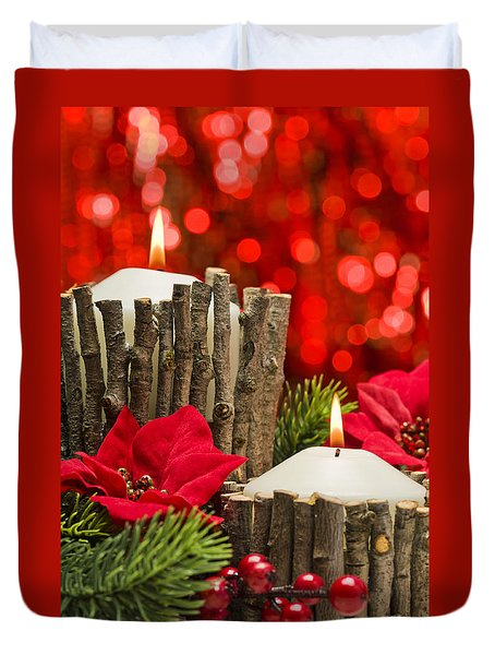 Duvet Cover featuring the photograph Autumn Candles by Ulrich Schade