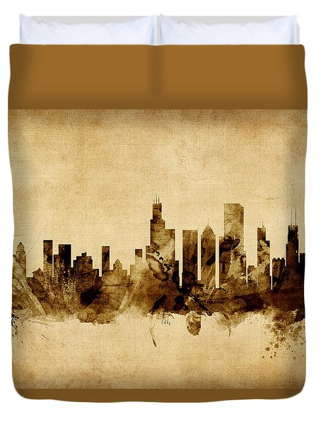 Chicago Illinois Skyline Duvet Cover by Michael Tompsett