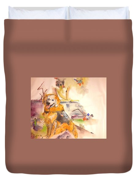 Duvet Cover featuring the painting Dogs  Dogs  Dogs  Album  by Debbi Saccomanno Chan