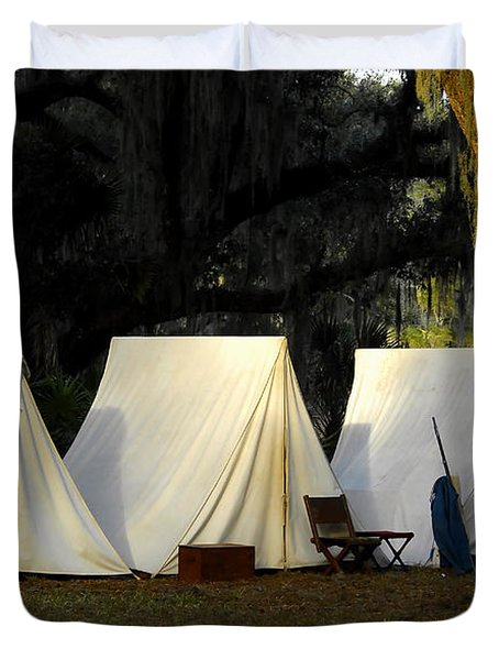 1800s Army Tents Duvet Cover by David Lee Thompson