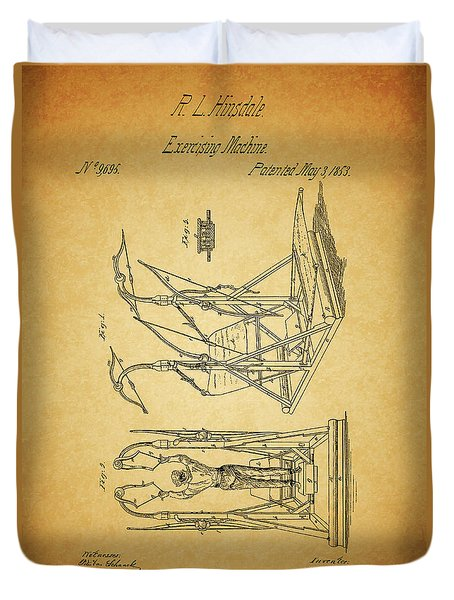 1853 Exercising Machine Patent Duvet Cover by Dan Sproul