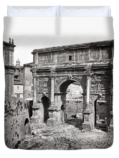 Duvet Cover featuring the photograph 1870 Arch Of Septimius Severus Rome Italy by Historic Image