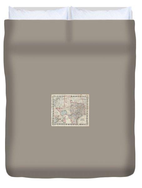 1870 Colton Pocket Map Of Texas Duvet Cover