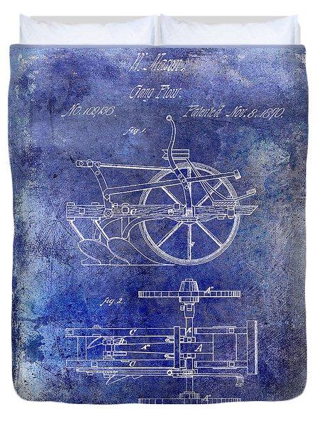 1870 Plow Patent Blue Duvet Cover