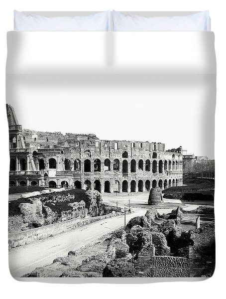 Duvet Cover featuring the photograph 1870 The Colosseum Of Rome Italy by Historic Image