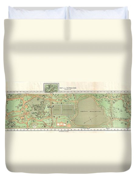1870 Vaux And Olmstead Map Of Central Park New York City Duvet Cover
