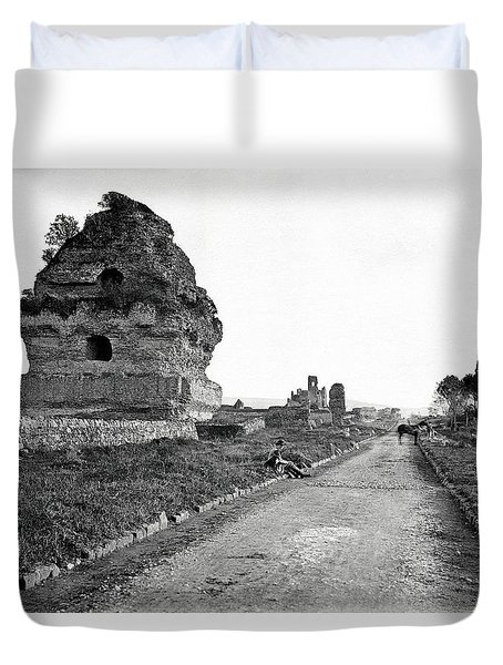 Duvet Cover featuring the photograph 1870 Visiting Roman Ruins Along The Appian Way by Historic Image