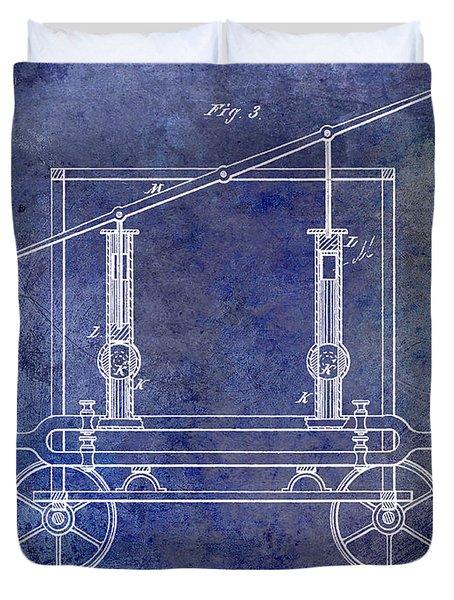 1875 Fire Extinguisher Patent Blue Duvet Cover