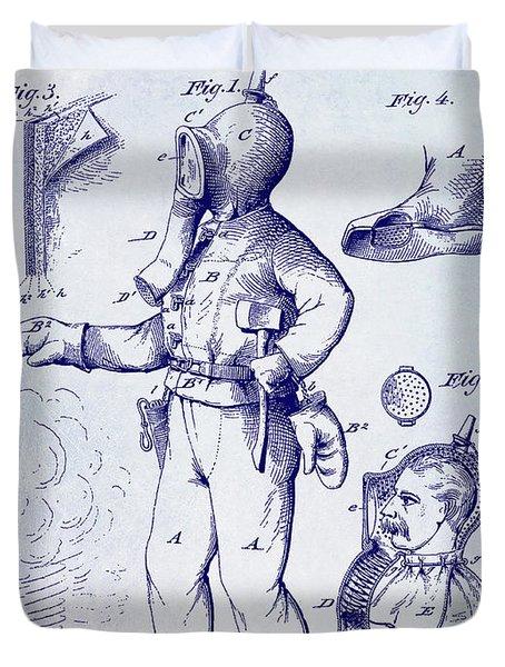 1880 Fireman Suite Patent Duvet Cover