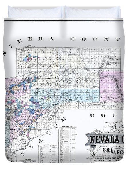 1880 Nevada County Mining Claim Map Duvet Cover